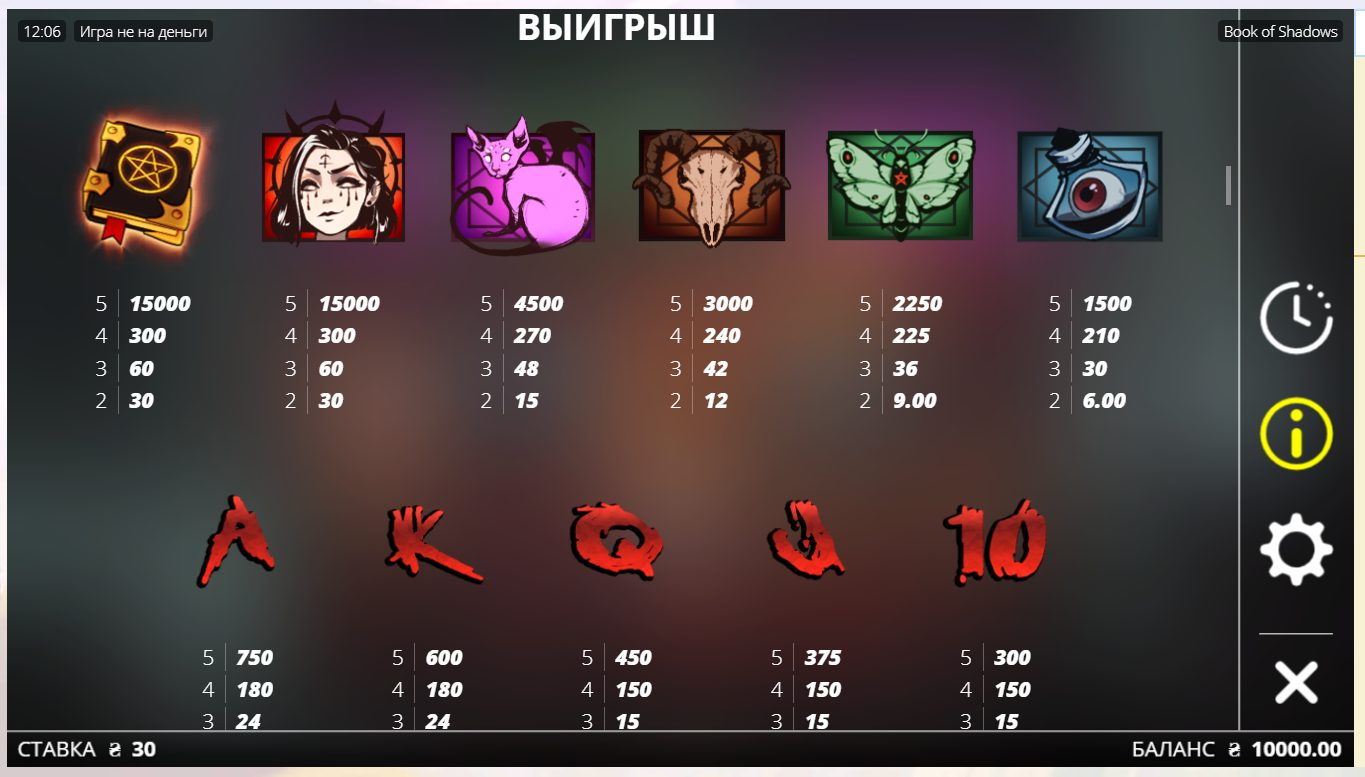 Book of Shadows Символы Wild, Scatter
