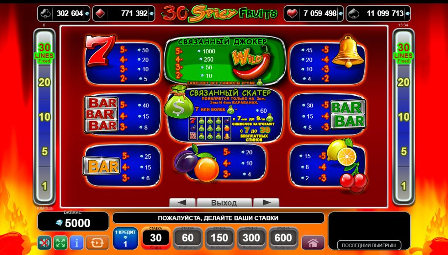 30 Spicy Fruits Символы Wild, Scatter